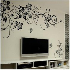 Wall Stickers Living Room Dark Wood Beams 47 Best Removable Images 80 130cm Black Flowers Decals Art Decal Decor 069