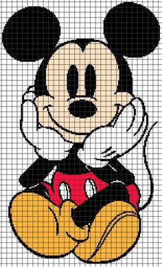 Diy Crafts - Mickey Mouse Sitting (Graph AND Row-by-Row Written Crochet Instructions) - This crochet graphghan pattern is 155 x 255 squares, and Disney Cross Stitch Patterns, Cross Stitch Designs, Cross Stitch Kits, Cross Stitching, Cross Stitch Embroidery, Crochet Mickey Mouse, Mickey Mouse Blanket, Crochet Disney, Minnie Mouse