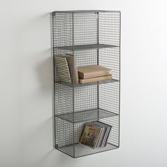 Features of La Redoute Intérieurs openwork metal shelf unit: 4 shelves. Metal mesh structure with grey epoxy paint finish. Size of one compartment: 29 x x cm. Overall size Height x x cm. Metal Shelving Units, Storage Shelves, Wall Shelves, Modern Furniture, Home Furniture, Online Fashion, Metal Mesh, Wire Mesh, Vintage Interiors