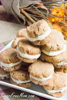 Sugar Free Grain Free Low Carb Snickerdoodle Cream Cookies