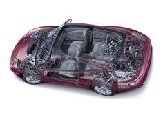 Porsche 996 Targa Cutaway, Luxury Cars, Mercedes Benz, Porsche, Automobile, Racing, Sketch, Technology, Beautiful
