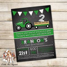 Personalized Tractor Birthday Party Invitation Digital File
