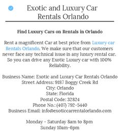 Exotic Car Rentals Orlando makes is easy for you to traverse in Luxury Vehicles and feel the difference in your ride.