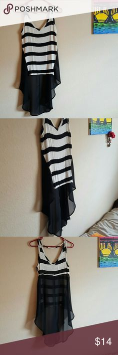 High/low sheer tank top Super cute black and white glittery striped tank top with sheer black asymmetrical back. Tops Tank Tops