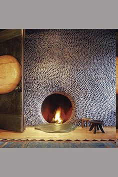 Modern Fireplace, Fireplace Design, Fireplace Ideas, Fireplace Makeovers, Fireplace Stone, Fireplace Mantles, Small Wooden Stool, Wooden Stools, Fire Pit With Rocks
