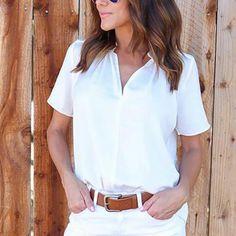 V Neck Plain Casual Blouses - Dreshion - Fashion Dress Blouses, V Neck, Casual, Tops, Women, Style, Fashion, Swag, Moda