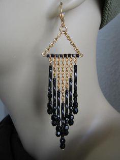 Black Bugle Bead Chain Earrings - Black