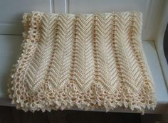 Victorian Ripple Afghan Cream Color with Pretty Lace Border - Ready to Ship Free Shipping