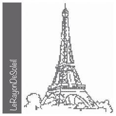 Patrón de punto de cruz torre Eiffel Paris por LeRayonDeSoleil