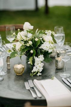 White and greenery wedding centerpiece - classic wedding centerpiece - Find your event planner on WeddingWire! {Asheville Event Co.}