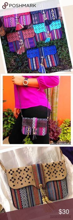 New Ethnic Crossbody Bag Clutch Blue Pink Tan Message me what color would you like before purchasing. Thanks Cielito Lindo  Bags Crossbody Bags
