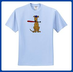 All Smiles Art Sports and Hobbies - Funny Cute Greyhound Puppy Dog Playing Baseball - T-Shirts - Adult Light-Blue-T-Shirt XL (ts_255662_53) - Sports shirts (*Amazon Partner-Link)