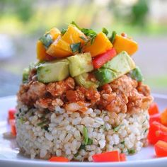 Mexican Haystacks  RICE 2 cups uncooked brown rice 1 bunch fresh cilantro  MEAT 1 1/2 lbs ground turkey 1 onion, chopped 1 tablespoon garlic powder salt & pepper to taste 4 cups salsa (I used Kirkland organic salsa from Costco)  TOPPINGS 1-2 avocados, chopped 1-2 red peppers, chopped 1-2 ripe mangoes, chopped fresh cilantro for garnish - METHOD wholeandfree.blogspot.com.au