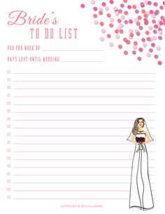 Printable Bride Notes / To Do List Instant Digital Download by ...