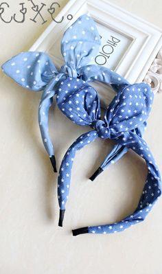 Lovely hairbands! Polka dotted & star crossed, denim bow knot rabbit ear hairbands!