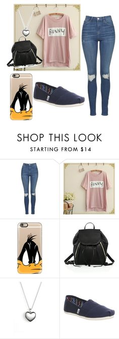 """""""Daffy Duck and The bunny"""" by rainyy213 ❤ liked on Polyvore featuring Topshop, Fairyland, Casetify, Rebecca Minkoff, Pandora and TOMS"""