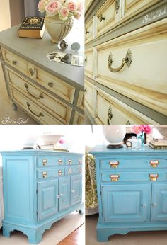 These were all finished using chalk paint. It's so easy, no priming or prepping necessary just paint away!