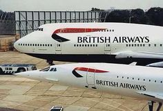 """[British Airways] Concorde: """"Power and Beauty."""" (With Boeing 747 - Jumbo Jet. A380 Aircraft, Boeing 747, Sud Aviation, Civil Aviation, British Airways, Concorde, 747 Jumbo Jet, Rolls Royce, Tupolev Tu 144"""
