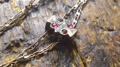 Victorian Garnet Ruby Pearl Watch Slide by CrownofLifegems on Etsy