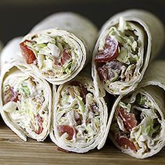 BLT Wraps with a special sauce (not mayo!), make these a standout lunch, snack, or appetizer that you will love!