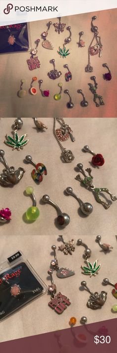 Lot of belly rings= 17 all together Belly rings. Most just sat in my jewelry box. Jewelry