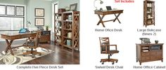 Ashley Burkesville Home Office Desk Set 1 Office Desk Set, Home Office Desks, Dream Furniture, Warm, Rustic, Stuff To Buy, Collection, Design