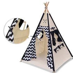 Portable Canvas Indian Teepee With Ventilated Window For Indoor And Outdoor Fashionable Style; Children Play Tent With Floor Mat In 2019 New Style Kids Teepee Tent