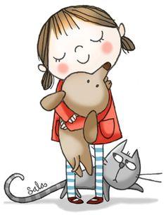 Lil' Pammie and her posse Digi Stamps, Children's Book Illustration, Whimsical Art, Dog Art, Nursery Art, Cute Cartoon, Cute Drawings, Cute Art, Art For Kids