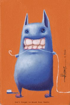 I love the idea of monsters flossing their teeth in our bathroom.
