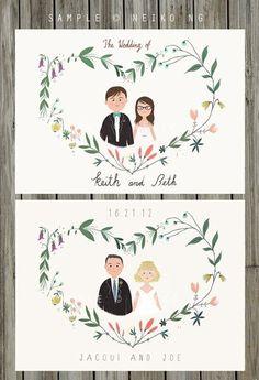 Printable Custom Portraits Wedding Invitation by neikoart.etsy.com #weddinginvitation