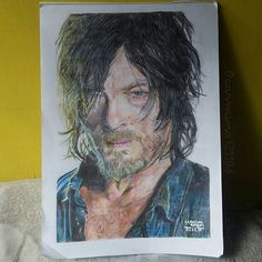 This is my fanart for Norman Reedus aka Daryl Dixon from The Walking Dead. Daryl Dixon, Norman Reedus, The Walking Dead, Fanart, Photo And Video, Drawings, Painting, Instagram, Painting Art