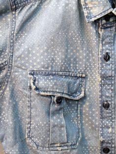 Droplets print | Faded denim | Indigo blue | Pale | Work shirt