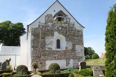 The gable of Jelling Church exposed for excavations in 2012.  Gavlen på Jelling Kirke fritlagt for udgravninger i 2012.