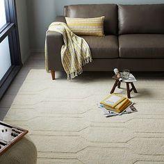 Honeycomb Textured Wool Rug - Ivory #westelm