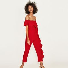 Zara Red Jumpsuit Romper With Ruffle - Brand New
