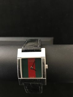 4883b275 Gucci women's nice unique red-green square watch, new battery fits 6 1/2