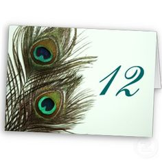 Peacock Feather Wedding Table Numbers