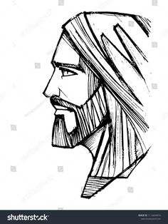 Vetor stock de Hand Drawn Vector Ink Illustration Drawing (livre de direitos) 748885432 - Art and tattoos - Hand drawn vector pencil illustration or drawing of Jesus Christ Face - Jesus Christ Drawing, Jesus Drawings, Jesus Christ Images, Christian Drawings, Christian Art, Jesus Tattoo, Religious Pictures, Religious Art, Pencil Illustration