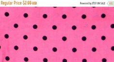 ON SALE 80% OFF Circle Fabric - Black and Pink Fabric - Geometric Fabric - Cotton Fabric - Dot Fabric - Polka Dot - Rockabilly - Minimalist