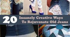 They don't need to just sit in your closet gathering dust anymore! Below are 20 ways to recycle jeans into creative new objects, from just adding a bit of color to turning them into a bag for a camera . Fabric Crafts, Sewing Crafts, Sewing Projects, Sewing Ideas, Diy Projects, Ways To Recycle, Repurpose, Reuse, Redo Clothes