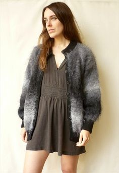 Vintage Mohair Ombre Grey & Black Coloured Fluffy Cardigan