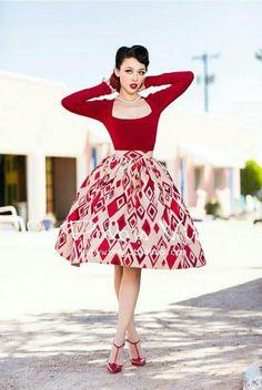Modèle patron robe rockabilly idée comment s habiller chic chaussures vintage rouges chaussures à talon