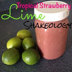 Felt like I was sipping on a #tropicaldrink today - just by adding fresh-squeezed lime juice!่ 1 banana่ 1 cup frozen strawberries่ 1 scoop vegan tropical strawberry Shakeology่ juice from 1 lime่ water่
