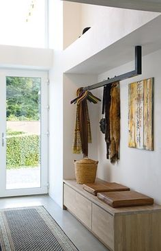 Ground floor entry hallway - suspended coat rack & built-in credenza/bench Entrance Design, House Entrance, Entrance Halls, Entrance Ideas, Diy Coat Rack, Entry Coat Rack, Hallway Coat Rack, Entry Hallway, Entry Bench