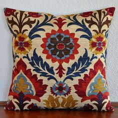 Decorative Pillow Cover 20x20 inches Damask Print in Blue Red on Oatmeal Background Toss Pillow Accent Pillow