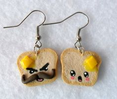 Funny Kawaii Toast Earrings, with Melted Butter and Emotion Faces :). via Etsy.