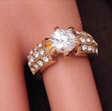 Unique Jewelry - Stunning Vintage   zircon cut crystal 18k gold filled lady shining ring size7