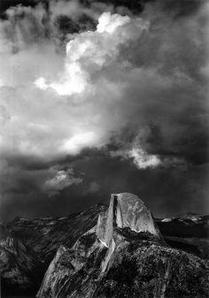 Ansel Adams Half Dome from Glacier Point 1947 Pictorialism His black-and-white landscape photographs of the American West, especially Yosemite National Park, have been widely reproduced. Vintage Nature Photography, Artistic Photography, Art Photography, Sierra Nevada, Great Photographers, Landscape Photographers, Ansel Adams Photography, Straight Photography, Photo Lovers