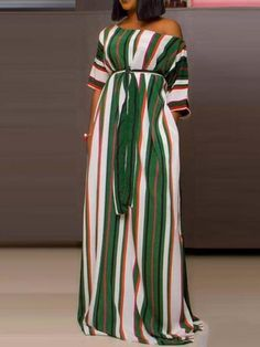 Half Sleeve Colorful Striped Maxi Dress Women's Online Shopping Offering Huge Discounts on Dresses, Lingerie , Jumpsuits , Swimwear, Tops and More. Latest African Fashion Dresses, African Dresses For Women, African Print Fashion, African Attire, Trend Fashion, Fashion Outfits, Maxi Outfits, Fashion Fashion, Stylish Outfits