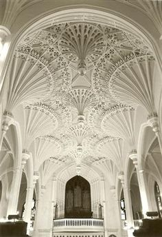 intricate vaulted ceiling -- all white